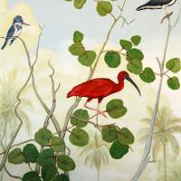 Balcony Mural Red Ibis