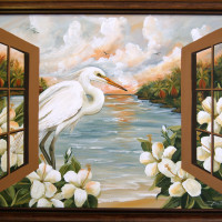 Heron through wooden window