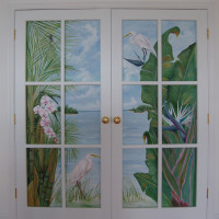 Mural behind french doors