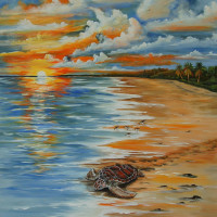 Turtle Mural before installation