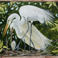 WHITE EGRETS WITH NEW LIFE