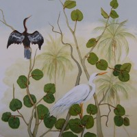 White Egret and Cormoran balcony mural