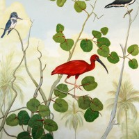 Balcony Mural Red Ibis