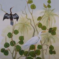 White Egret and Cormoran balcony mural